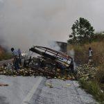 Caminhão carregado de leite pega FOGO e motorista escapa na BR-101