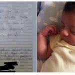 Custei a acreditar no que li!Mãe de recém-nascido é surpreendida por bilhete deixado embaixo da porta