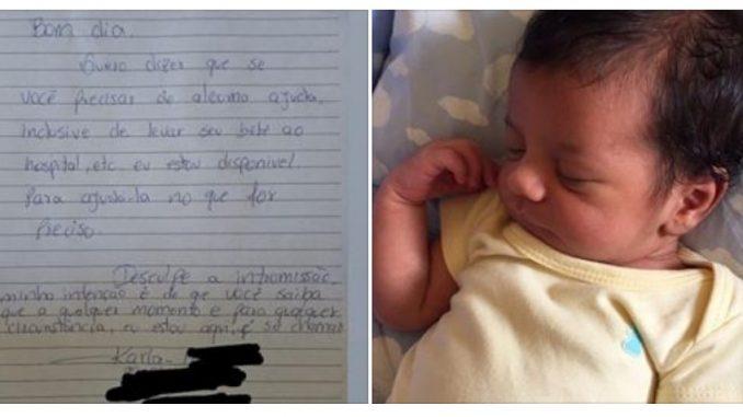 Mãe de recém-nascido é surpreendida por bilhete