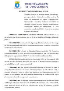Lauro de Freitas decreta TOQUE DE RECOLHER